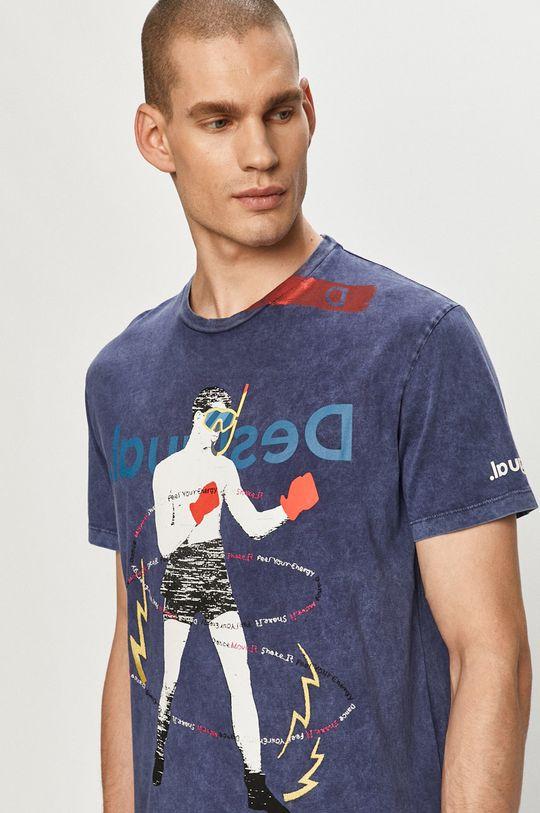 granatowy Desigual - T-shirt Męski