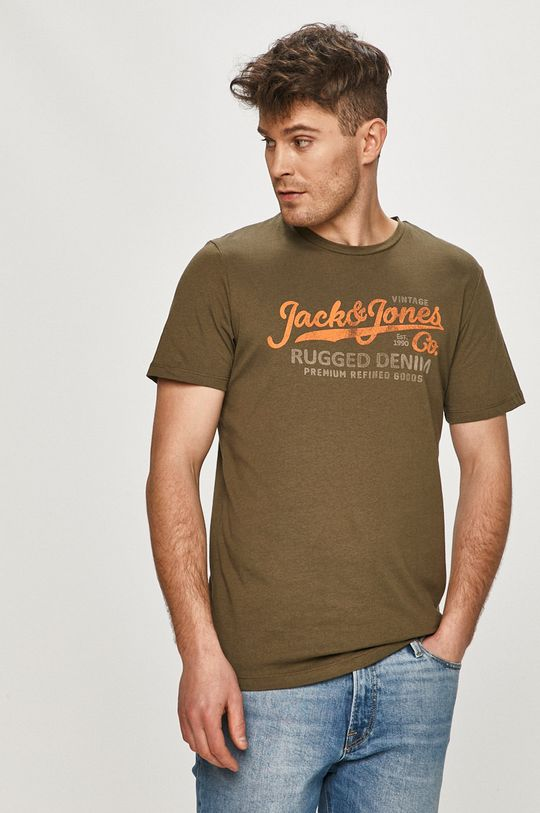 olivová Premium by Jack&Jones - Tričko Pánský