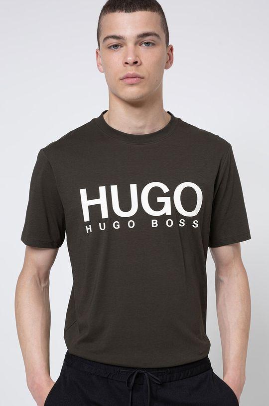 ciemny zielony Hugo - T-shirt Męski