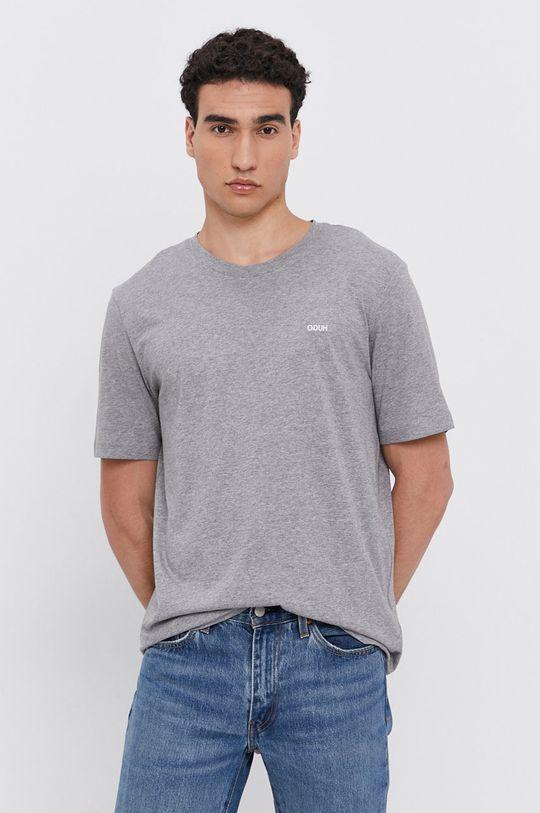 szary HUGO - T-shirt/polo 50450482 Męski