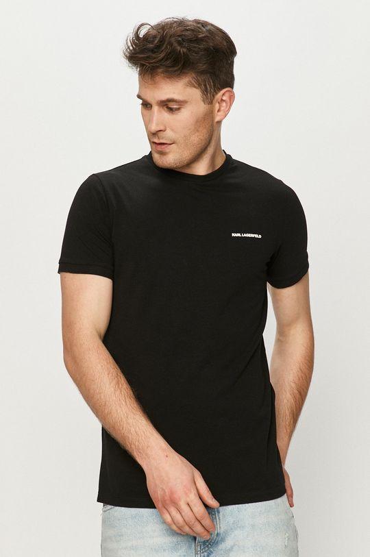 czarny Karl Lagerfeld - T-shirt Męski
