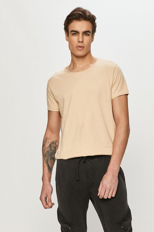 beżowy Tigha - T-shirt Męski