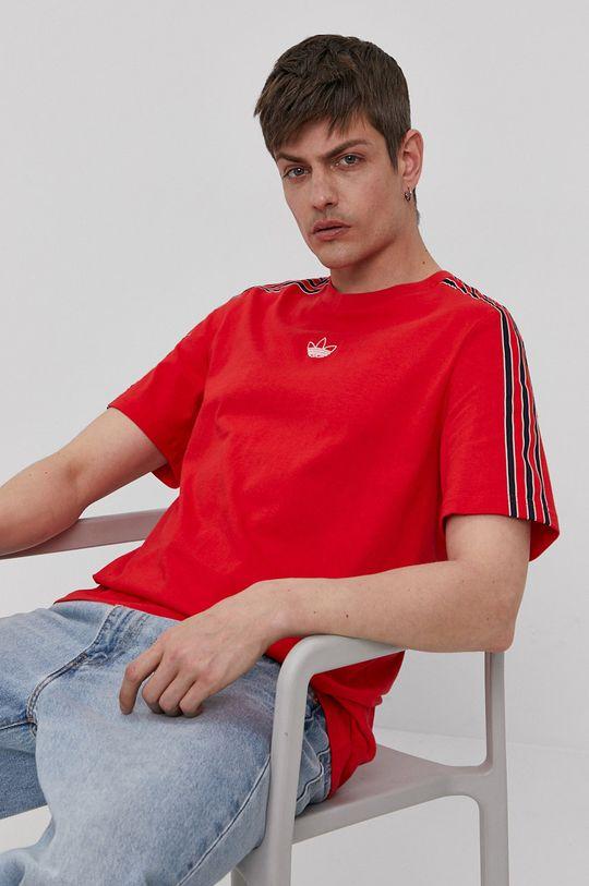czerwony adidas Originals - T-shirt Męski