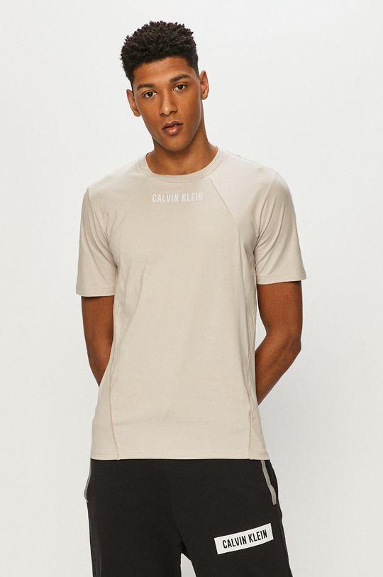 piaskowy Calvin Klein Performance - T-shirt Męski