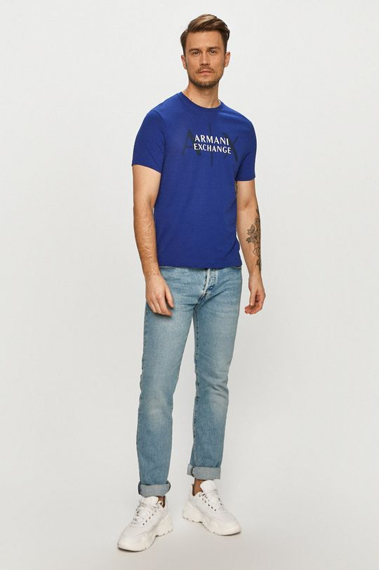 Armani Exchange - Tričko tmavomodrá