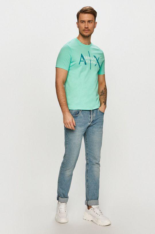 Armani Exchange - Tričko svetlá tyrkysová