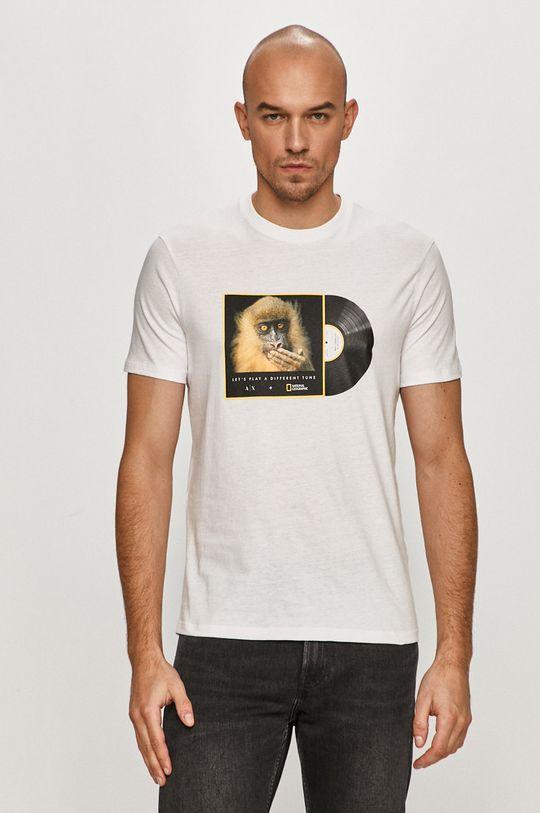 biela Armani Exchange - Tričko x National Geographic