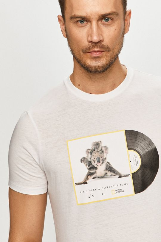 biela Armani Exchange - Tričko x National Geographic Pánsky