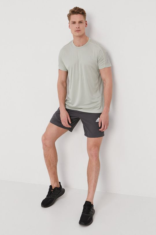 adidas Performance - T-shirt jasny oliwkowy