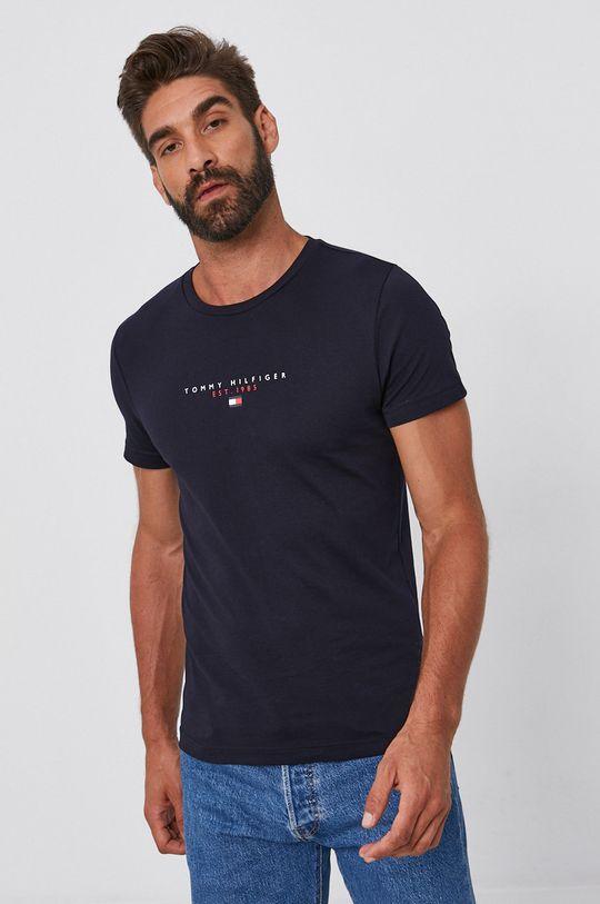 tmavomodrá Tommy Hilfiger - Bavlnené tričko Pánsky