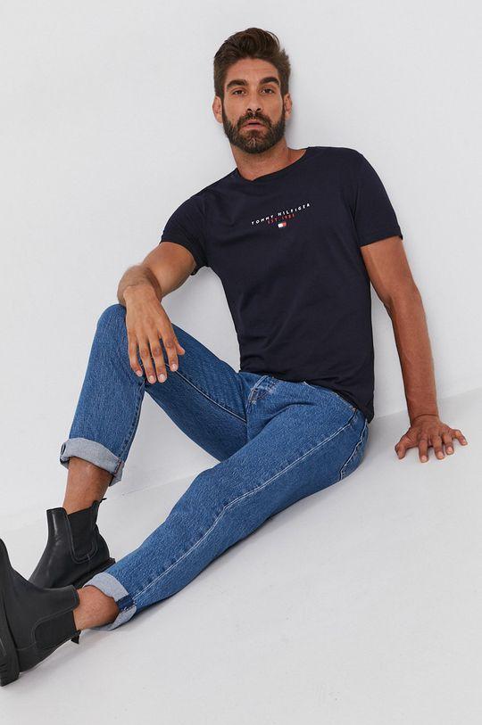 Tommy Hilfiger - Bavlnené tričko tmavomodrá