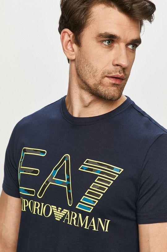 granatowy EA7 Emporio Armani - T-shirt Męski