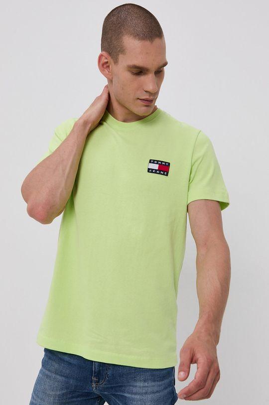 žlutě zelená Tommy Jeans - Tričko Pánský