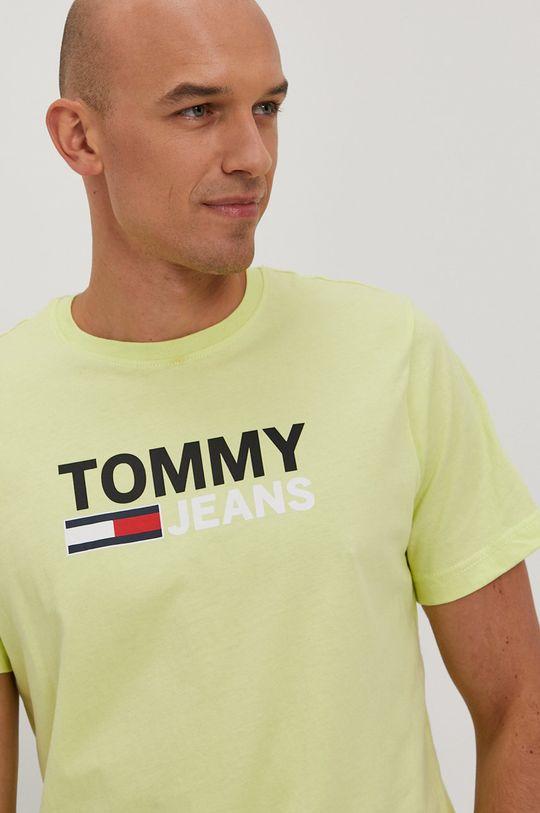 žlto-zelená Tommy Jeans - Tričko Pánsky