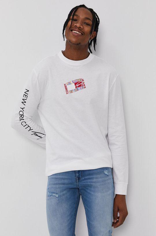 biela Tommy Jeans - Tričko s dlhým rukávom Pánsky