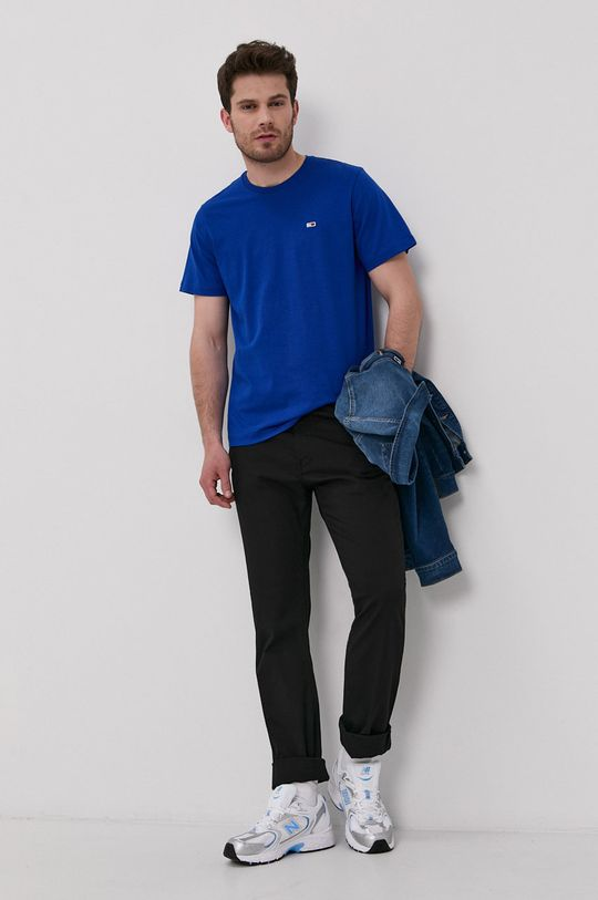 fialová Tommy Jeans - Tričko Pánsky