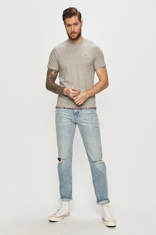 Tommy Jeans - Tricou gri deschis