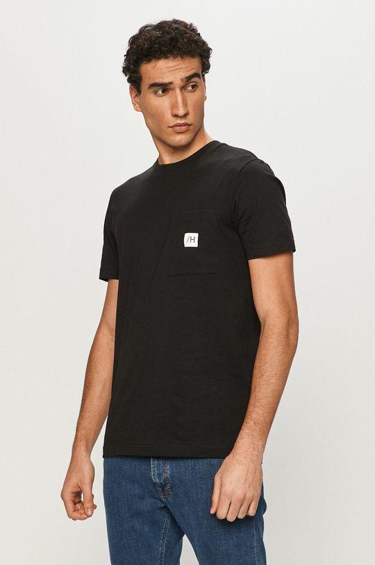 czarny Selected - T-shirt Męski