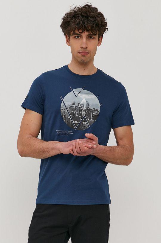 4F - T-shirt stalowy niebieski