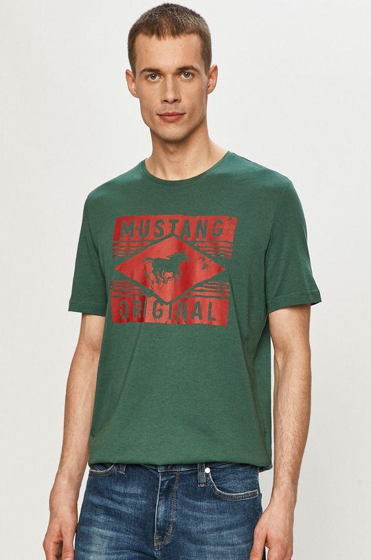 tmavě zelená Mustang - Tričko Pánský