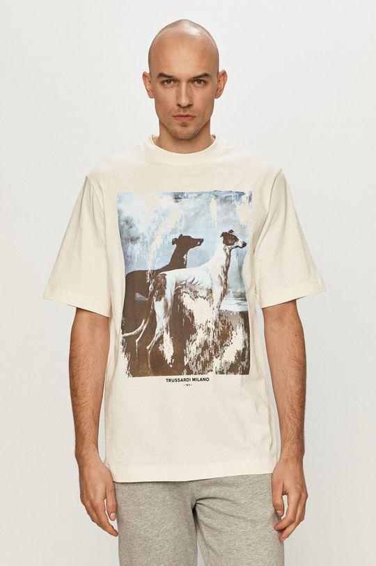kremowy Trussardi Jeans - T-shirt Męski