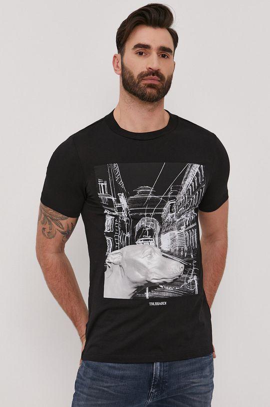 czarny Trussardi - T-shirt Męski