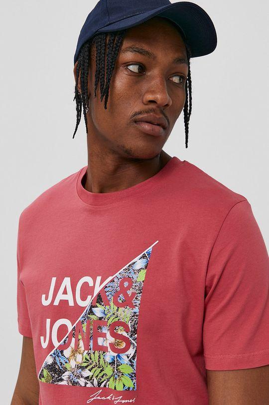 Jack & Jones - T-shirt fiołkowo różowy
