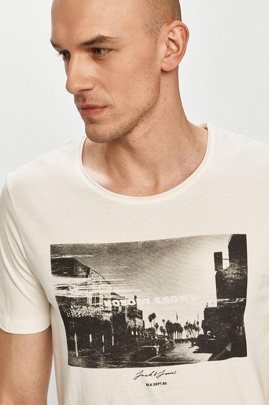 kremowy Jack & Jones - T-shirt Męski