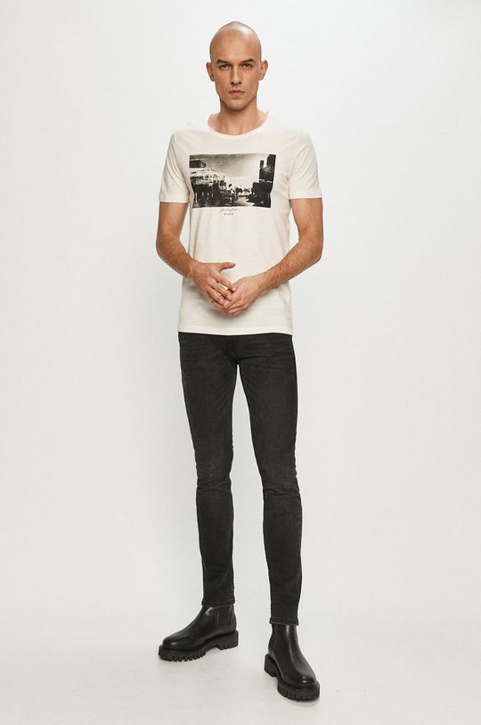Jack & Jones - T-shirt kremowy