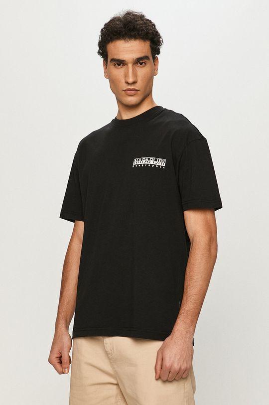 czarny Napapijri - T-shirt Męski