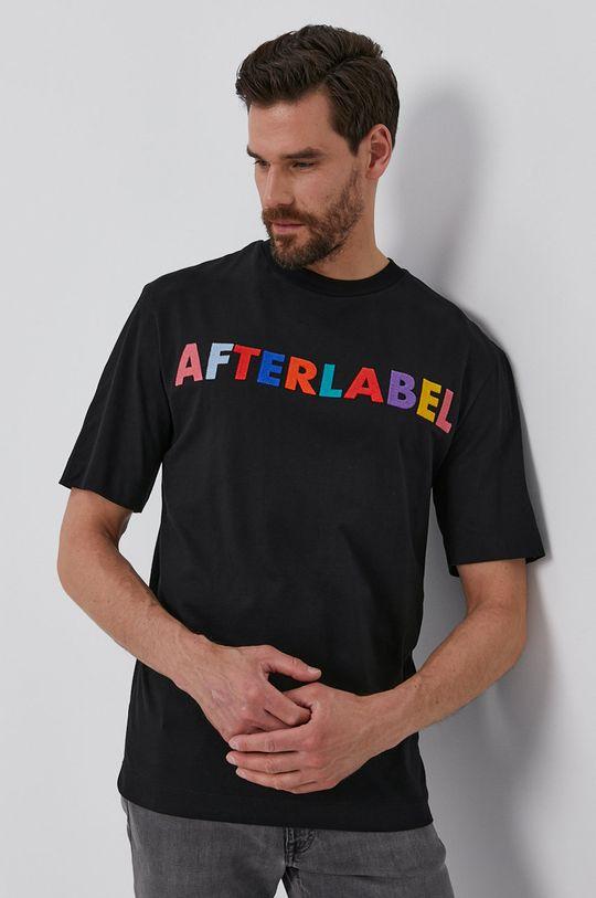 czarny After Label - T-shirt Męski