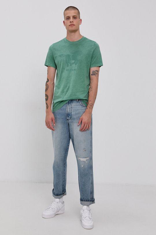 Mustang - Bavlněné tričko tyrkysová