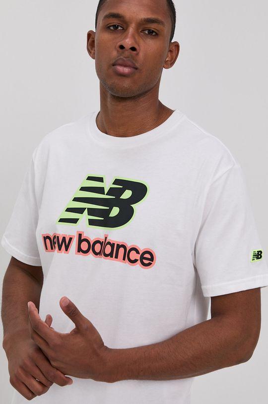 biały New Balance - T-shirt Męski