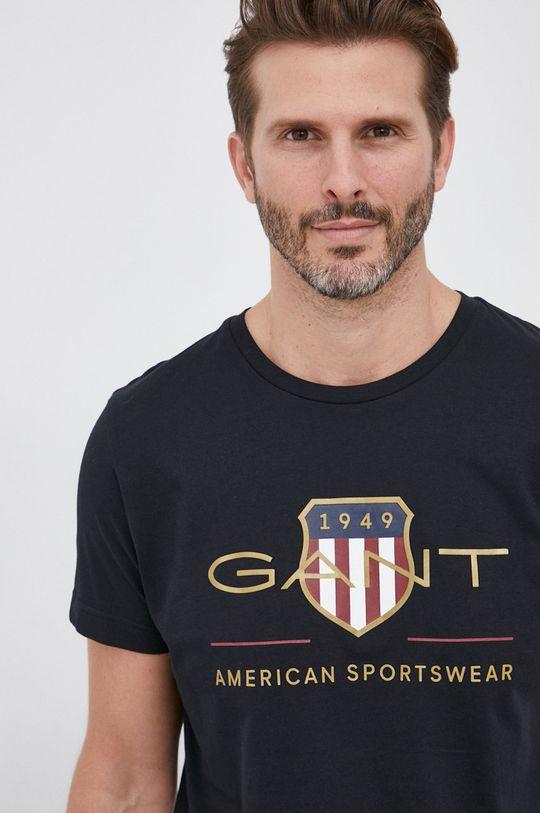 czarny Gant - T-shirt Męski