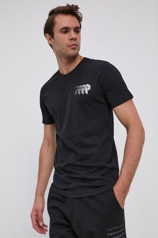 čierna Peak Performance - Bavlnené tričko Pánsky