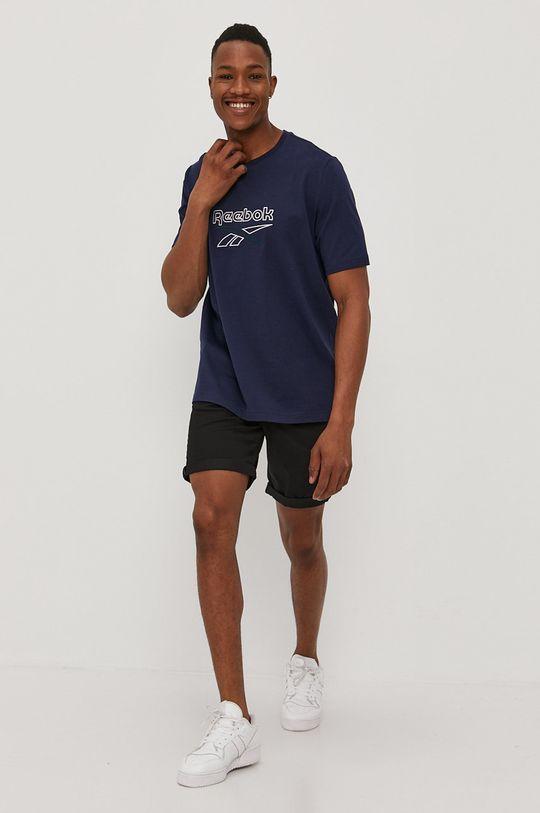granatowy Reebok - T-shirt Męski