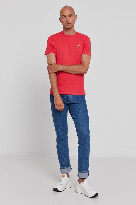 Lyle & Scott - T-shirt bawełniany ostry różowy