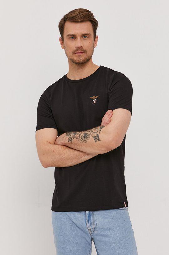 czarny Aeronautica Militare - T-shirt Męski