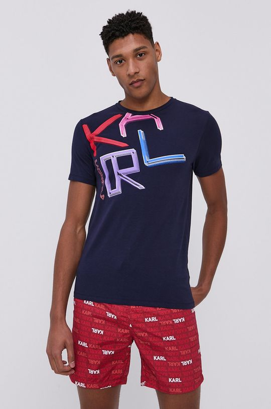 granatowy Karl Lagerfeld - T-shirt Męski