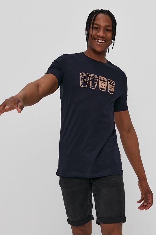 granatowy John Frank - T-shirt Męski