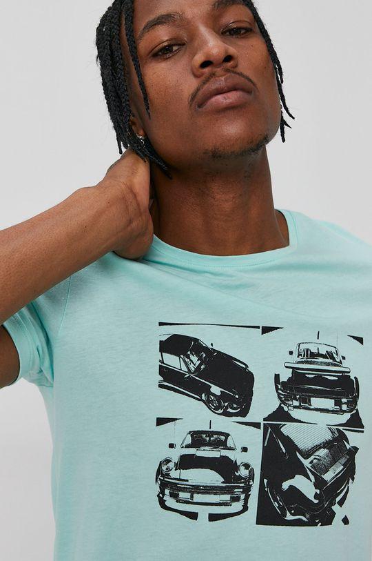 zielony John Frank - T-shirt Męski