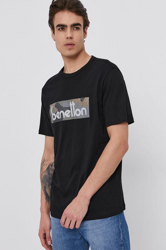 černá United Colors of Benetton - Bavlněné tričko Pánský