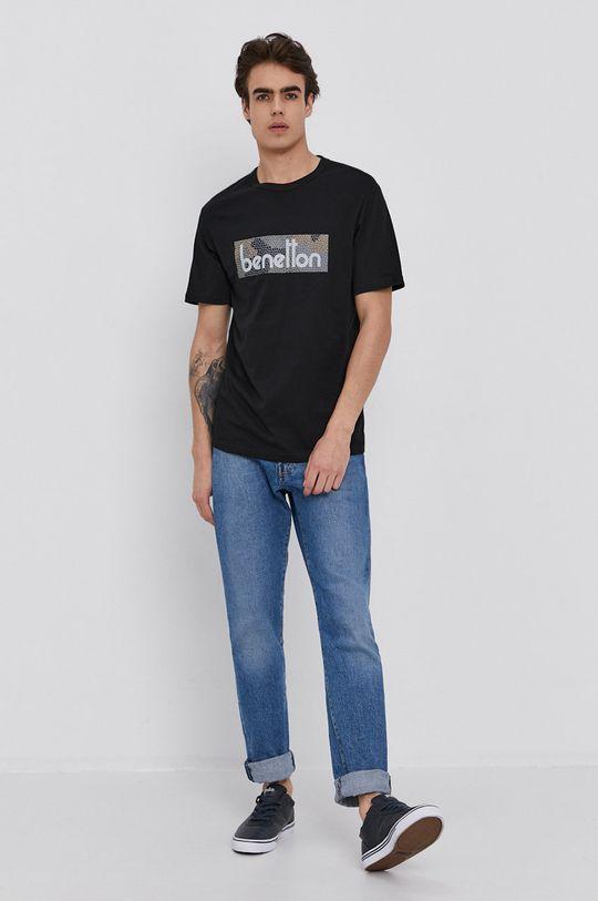 United Colors of Benetton - Bavlněné tričko černá