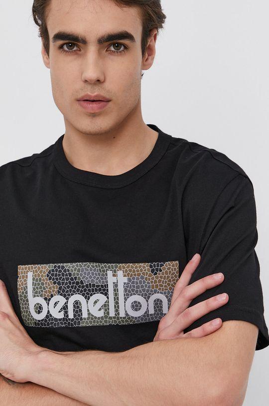 černá United Colors of Benetton - Bavlněné tričko