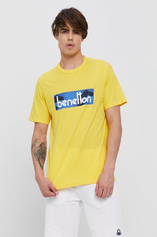 žlutá United Colors of Benetton - Bavlněné tričko Pánský