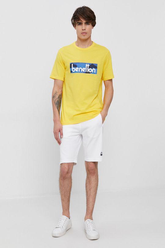 United Colors of Benetton - Bavlněné tričko žlutá