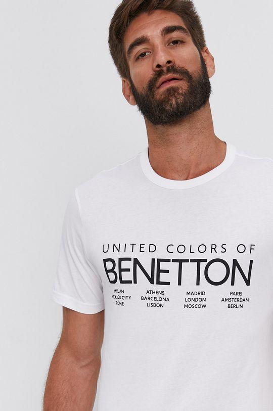 biela United Colors of Benetton - Tričko Pánsky