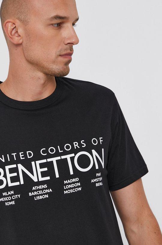 czarny United Colors of Benetton - T-shirt bawełniany