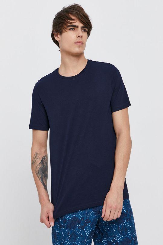 tmavomodrá United Colors of Benetton - Bavlnené tričko Pánsky