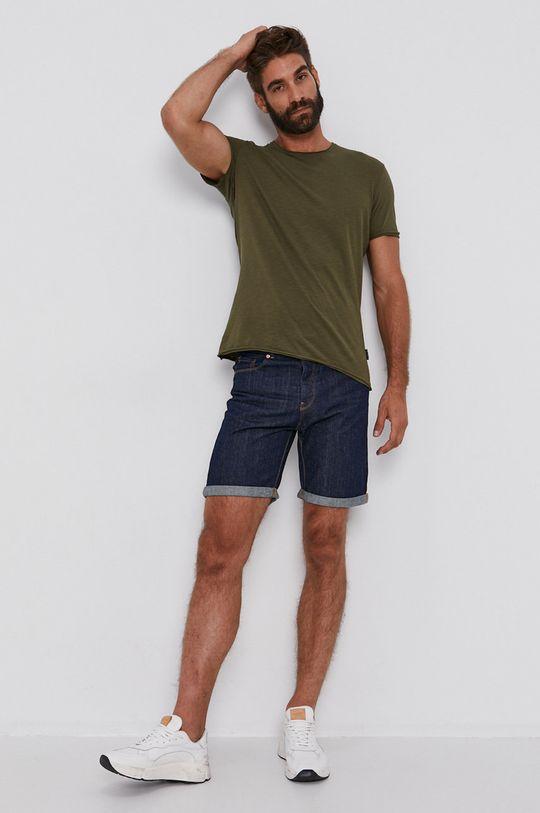 Sisley - Bavlněné tričko olivová